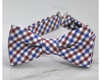 Blue and burgundy bow tie, for boys, toddler, wedding bow ties, little boy, plaid bow tie, preppy, for men, navy plaid bow tie