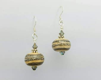 Lampwork Bead Earrings~Handmade Silvered  Ivory Glass Earrings~OOAK Handmade Lampwork Earrings~Artisan Glass Bead Jewelry~SRA~Gift for Her
