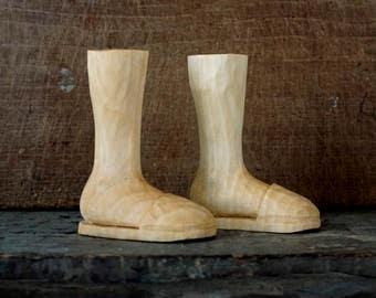 Vintage Carved Wood Feet - Folk Art - Marionette - Wooden Sculpture - Wood Figure - Wooden Ornaments