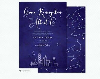 Chicago Wedding Invitation, Chicago Invitation, Chicago Skyline, City of Stars Wedding Invitation, Navy Blue Wedding Invitation, Stars