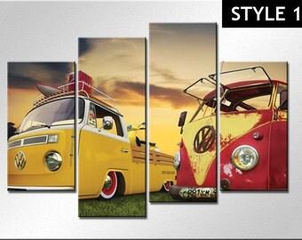 Classic Volkswagen VW van 4 panel Canvas