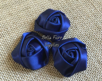 Navy Blue Mini Rolled Rosette Satin Flowers, 1.5  inch, Satin Flowers, Fabric Flower