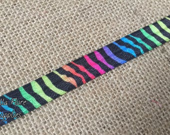 Animal Print Fold Over Elastic- Animal Stripe Foe- Bright Rainbow FOE- Wholesale FOE- DIY Headband- Fold Over Elastic- Elastic by the Yard