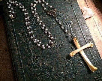 Animal bone necklace // cross necklace // taxidermy necklace // gothic necklace // bone jewelry // gothic cross / gothic rosary / pearl