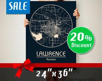 LAWRENCE Kansas CANVAS Map Lawrence Kansas Poster City Map Lawrence Kansas Art Print Lawrence Kansas poster Lawrence