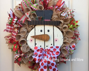 Burlap Snowman Wreath, Christmas Wreath, Winter Wreath, Snowman Wreath