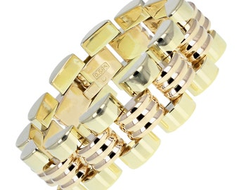 14 Carat Gold Vintage Brick Style Bracelet