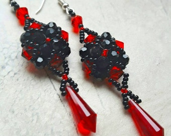 Red and Black Crystal Earrings