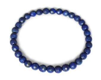 Lapis lazuli bracelet, of course, deep blue, round, faceted 6mm
