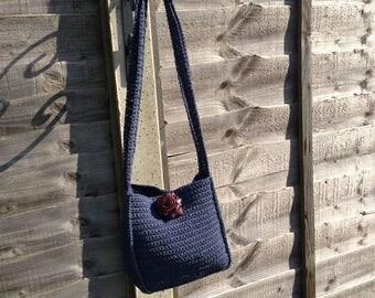 Vintage Crochet Handbag, Crochet Shoulder Bag, Handmade Crochet Bag, Boho Handbag, Vintage Tablet Bag, Crochet Tablet Bag, Hippie Bag