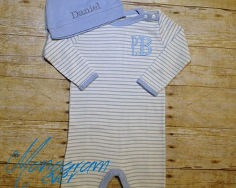 Going Home Outfit Boy- Baby Shower Gift- Newborn Boy- Coming Home Outfit Boy- Baby Photos- 100% Organic Cotton Coverall & Hat Set