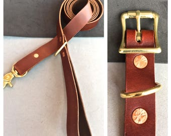 The Brown Leather Collar/Brown Leather Leash Combo