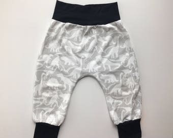 Harem Pants, Toddler, Baby, Dinosaur, White, Grey, Black, Leggings, Pants