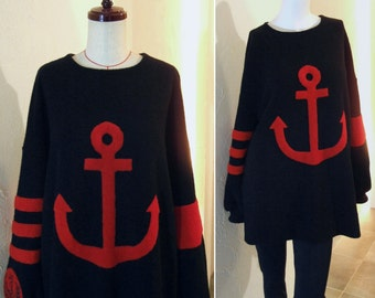 Black True Red Contrast Nautical Anchor applique Emblem Embroidery Oversized Sweater Tunic Top Jumper US 8 - US 9 Large COCOdake COuture