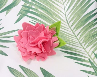 Tropical felt flower hair clip