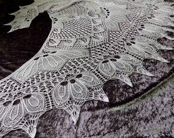 Lace Knit Shawl, Silk Merino Yarn, Hand knitting, Wedding Day, Luxury Scarf, Handmade, Gift for Her, Special Occasion, Bohemian Wedding
