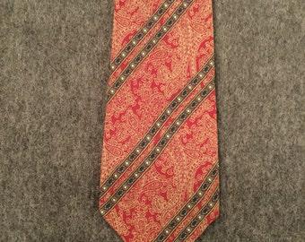 Martelli Firenze Red Italian Silk Paisley Necktie