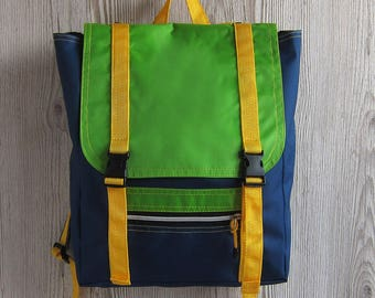 Colorful Laptop Backpack, Green Navy Rucksack, Hipster Backpack, Waterproof Backpack, Women Backpack