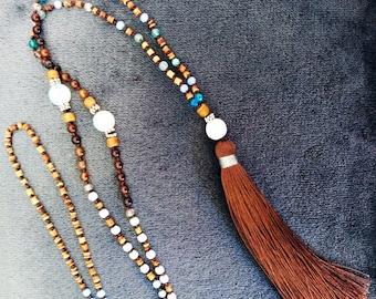 Mala beads Tassel necklace