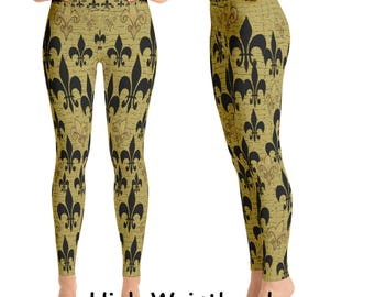 Black and gold fleur de lis leggings from my art