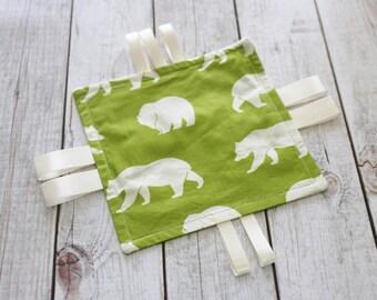 Organic Polar Bear Sensory Toy; Green Crinkle Toy; Organic Baby Toy