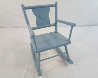 "Vintage-doll-rocker-blue-wooden-works-for-apx-19""-doll"