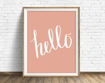 """modern wall art, instant download printable art, large art, large wall art, typography, hand drawn lettering, modern art prints - """"hello"""""""