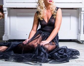 Tulle Maxi skirt,Unlined,Full Length,Floor length Tulle Skirt,Extra Full Skirt- Black Tulle Skirt,Tutu,Bridesmaid dress,Black Long Tulle