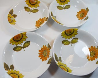 4 Vintage Alfred Meakin Sunflower Dessert/ Breakfast Bowls, Retro Orange Sunflower Bowls, 1960's Yellow Orange Bowls,