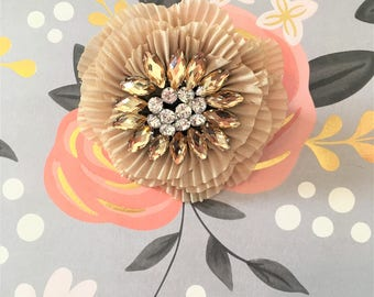 Small Cream Pleated Flower with Stones