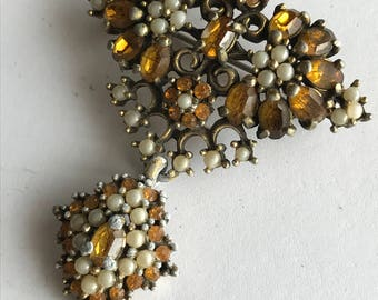 Vintage Pin Brooch . Earring Set . Victorian revival Costume jewelry