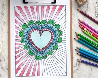 """Heart Burst Adult Coloring Page 
