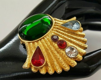 Jeweled Shell Pin