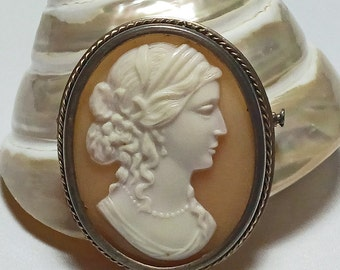 Cameo brooch 875 silver hand carved, goddess, shell cameo, lady, Russian USSR vintage jewellery, Statement, Cameo jewelry, Gift wife