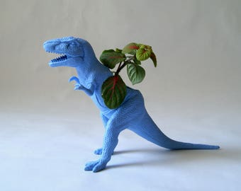 Plant Pot Blue Dinosaur. Little pot for indoor plants. Soft blue flower pot. Dinosaur Indoor garden / Plants accessory for desk or office