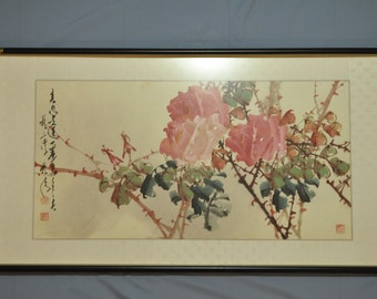 Fine old Chinese water color painting of Rose in pink exclude frame