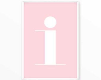 Letter i Print, I Initials Poster, scandinavian design, monogram, printable, Typography, Poster, Inspirational Home Decor, wall art, gift