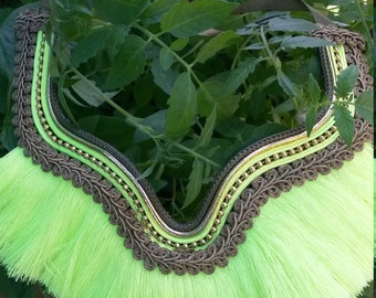 Collar of fringed green neon / necklace green neon