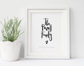 Personalised Family Print - New Family - Personalised gift - New Home Gift - Wedding Gift - Mothers Day - Anniversary Present - New Baby