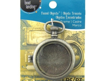 New Silver Colored Metal Pocket Watch Frame Locket Pendant by Found Objects.