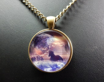 """Horse, Horse, Locket necklace, pendant in Bronze, with chain 24 """"with no. 0849"""