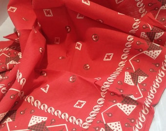 Red Elephant Trunk Down Bandana Fast Color Handkerchief 1950s Scarf Kerchief Large Boho Hippie Country Western Scarf