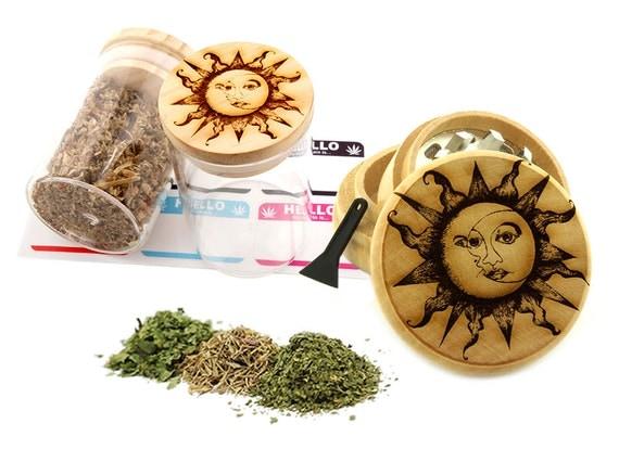Sun and Moon Engraved Premium Natural Wooden Grinder & Wood Lid Glass Jar Gift Set # GS103116-20