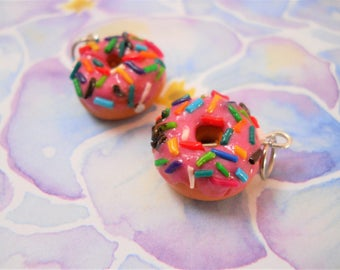 Polymer clay strawberry frosted donut with sprinkles charm/bracelet/earrings/keychain