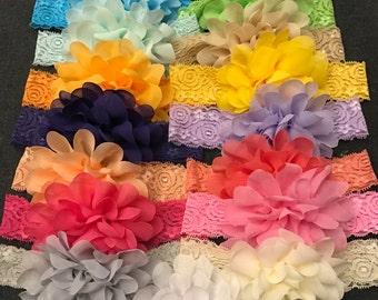 Set of 19 Chiffon Flower Lace Headbands, Baby Girls Chiffon Lace Headbands, Big Chiffon Flower Lace Headbands, Infant Headbands