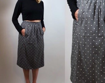 polkadot vintage skirt | tulip midi skirt 80s | highwaisted pocket size 12