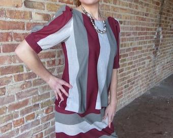 Grey and Maroon Dress