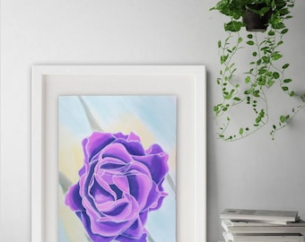 Wall art floral painting Hand painted silk Original Painting  Wall decor Home decor  Purple  Silk Panels  Floral Painting First home  Gift