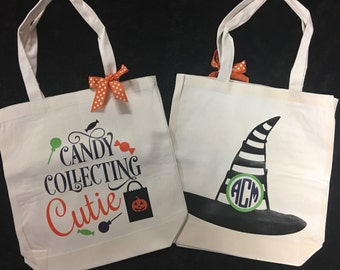 Halloween Trick or Treating Goody Monogrammed Bag Candy Collecting Cute with Witch Hat