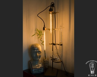 Vintage Industrial Lab Stand Lamp with Condenser and 3-neck flask Chemistry Science Biology